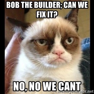 Frown Cat - Bob the builder; Can we fix it?  No, no we cant