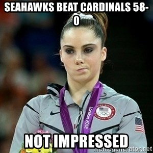 Not Impressed McKayla - seahawks beat cardinals 58-0 not impressed