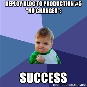 "Success Kid - Deploy Blog to Production #5 ""No changes"":  success"