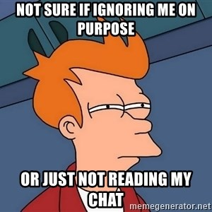 Futurama Fry - not sure if ignoring me on purpose or just not reading my chat