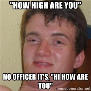 "really high guy - ""How high are you"" no officer it's, ""hi how are you"""