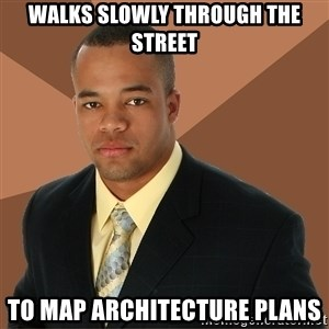 Successful Black Man - walks slowly through the street to map architecture plans