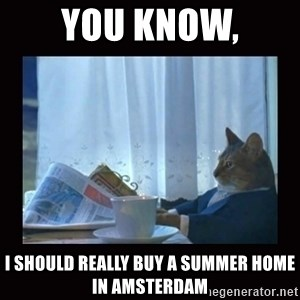 i should buy a boat cat - you know, i should really buy a summer home in amsterdam
