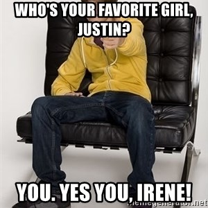 Justin Bieber Pointing - WHO'S YOUR FAVORITE GIRL, JUSTIN? YOU. YES YOU, IRENE!