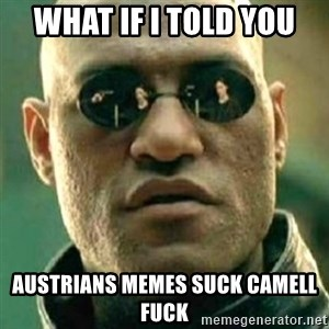 what if i told you matri - WHAT IF I TOLD YOU AUSTRIANS MEMES SUCK CAMELL FUCK