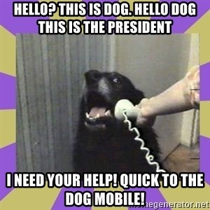 Yes, this is dog! - HELLO? THIS IS DOG. HELLO DOG THIS IS THE PRESIDENT I NEED YOUR HELP! QUICK TO THE DOG MOBILE!