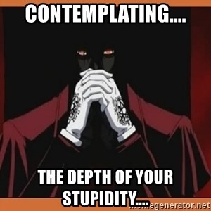 Alucard-king of undeads - contemplating.... the depth of your stupidity....