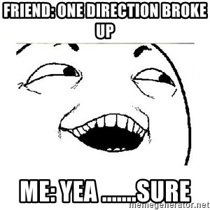 Yeah....Sure - FRIEND: ONE DIRECTION BROKE UP ME: YEA .......SURE