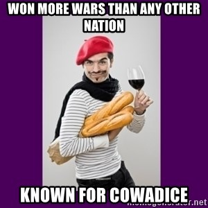 stereotypical french man - Won more wars than any other nation known for cowadice