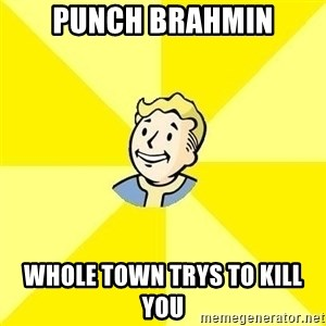 Fallout 3 - Punch Brahmin Whole town trys to kill you