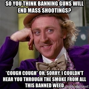 Willy Wonka - So you think banning guns will end mass shootings? *cough cough* oh, sorry. i couldn't hear you through the smoke from all this banned weed