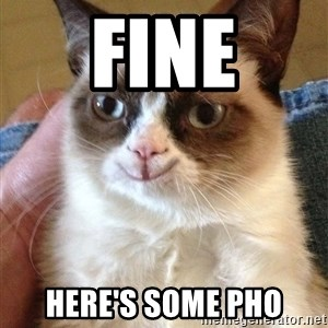 Grumpy Cat Happy Version - fine here's some pho