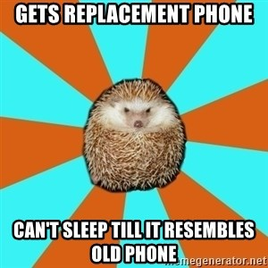 Autistic Hedgehog - Gets Replacement Phone can't sleep till it resembles old phone