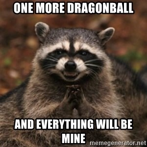 evil raccoon - one more dragonball and everything will be mine