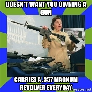 Dianne Feinstein - doesn't want you owning a gun carries a .357 magnum revolver everyday