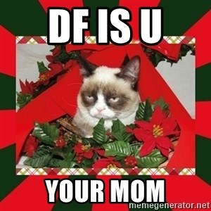 GRUMPY CAT ON CHRISTMAS - DF IS U  YOUR MOM