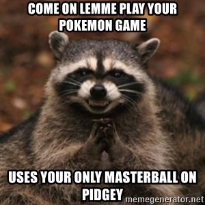 evil raccoon - come on lemme play your pokemon game uses your only masterball on pidgey