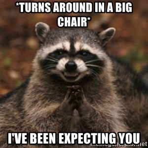 evil raccoon - *TURNS AROUND IN A BIG CHAIR* I'VE BEEN EXPECTING YOU