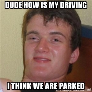Stoner Stanley - dude how is my driving i think we are parked