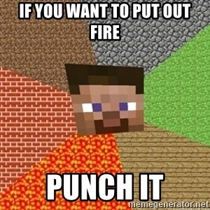 Minecraft Steve - If you want to put out fire punch it