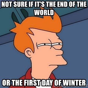 Futurama Fry - Not Sure if it's the end of the world Or the first day of winter