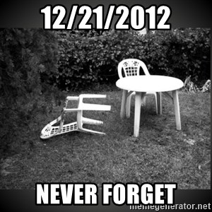 Chair Blown Over - 12/21/2012 NEVER FORGET