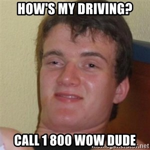 Stoner Stanley - how's my driving? call 1 800 wow dude