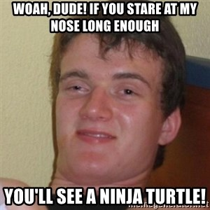 Stoner Stanley - Woah, dude! IF you stare at my nose long enough you'll see a Ninja Turtle!
