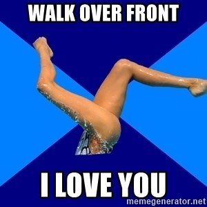Ordinary synchronized swimmer - walk over front i love you