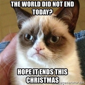 Grumpy Cat  - the world did not end today? hope it ends this christmas