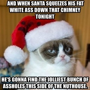 Grumpy Cat Santa Hat -  And when Santa squeezes his fat white ass down that chimney tonight he's gonna find the jolliest bunch of assholes this side of the nuthouse.