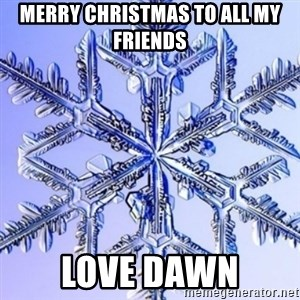 Special Snowflake meme - mERRY CHRISTMAS TO ALL MY FRIENDS LOVE DAWN