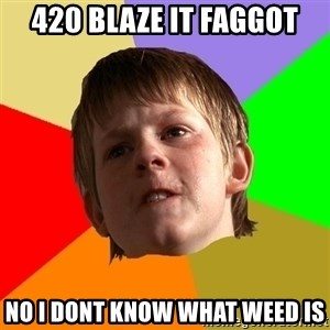 Angry School Boy - 420 blaze it faggot No i dont know what weed is