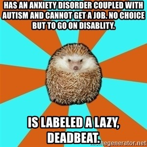 Autistic Hedgehog - has an anxiety disorder coupled with autism and cannot get a job. No choice but to Go on disablity. is labeled a lazy, deadbeat.