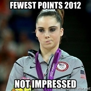 Not Impressed McKayla - Fewest Points 2012 not impressed