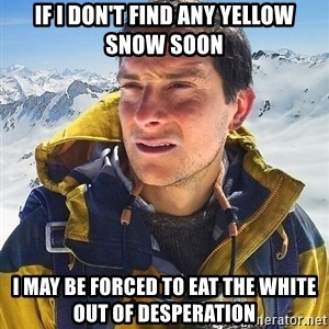 Bear Grylls Loneliness - if i don't find any yellow snow soon i may be forced to eat the white out of desperation
