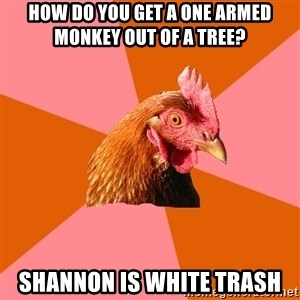 Anti Joke Chicken - How do you get a one armed monkey out of a tree? Shannon is White trash