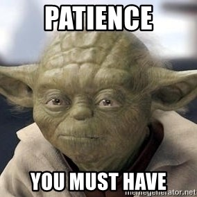 Master Yoda - patience you must have