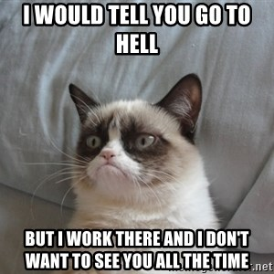 Grumpy cat 5 - I would tell you go to hell but I work there and I don't want to see you all the time