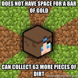 Minecraft Logic - does not have space for a bar of gold can collect 63 more pieces of dirt