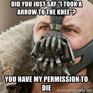 "Bane - did you just say ""i took a arrow to the knee""? you have my permission to die"