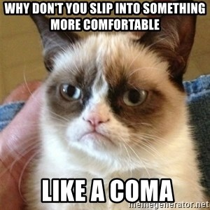 Grumpy Cat  - Why don't you slip into something more comfortable  Like a coma