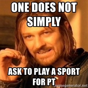 One Does Not Simply - one does not simply                  ask to play a sport for pt