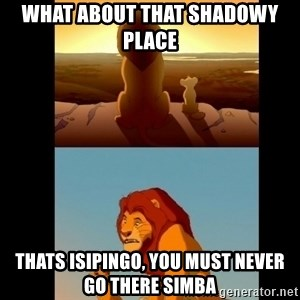 Lion King Shadowy Place - what about that shadowy place  thats isipingo, you must never go there simba