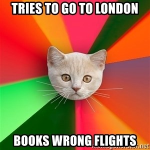 Advice Cat - TRIES TO GO TO LONDON BOOKS WRONG FLIGHTS