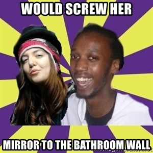 Interracial Couple - Would screw her Mirror to the bathroom wall