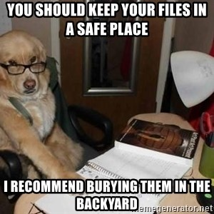 Financial advisor dog - You should keep your files in a safe place I recommend burying them in the backyard