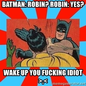 Batman Bitchslap - Batman: Robin? robin: yes? wake up you fucking idiot >.<