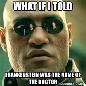 What If I Told You - what if i told frankenstein was the name of the doctor