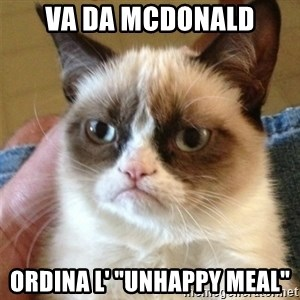 "Grumpy Cat  - Va da mcdonald ordina l' ""unhappy meal"""